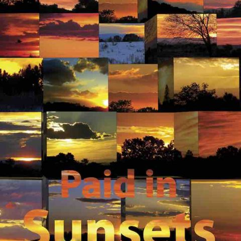 "A book cover showing many small images of sunsets with the book title ""Paid in Sunsets: A Park Ranger's Story"" at the bottom and the author's name David Dutton at the top."